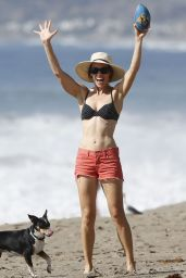 Hilary Swank in a Bikini Top at a Beach in Malibu - October2014