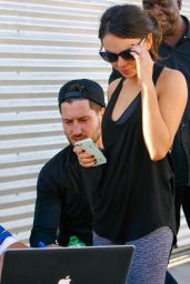 Janel Parrish in Leggings - DWTS Rehearsals in Hollywood, October 2014