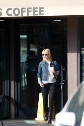 January Jones Street Style - at a Starbucks in Los Angeles, Oct. 2014