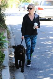 Jennie Garth Spotted Dog Walking in Los Angeles - October 2014