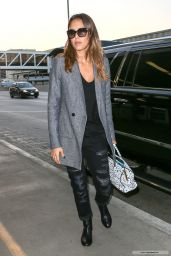 Jessica Alba Casual Style - at LAX Airport in Los Angeles - Oct. 2014