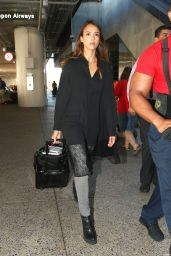 Jessica Alba Style - Arriving at LAX Airport in Los Angeles, October 2014