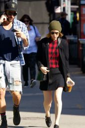 Kate Mara in Mini Skirt - Out in NYC, October 2014