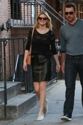 Kate Upton in Leather Mini Skirt - Out in New York City - October 2014