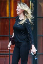 Kate Upton Street Style - Leaving the Bowery Hotel in New York City - October 2014