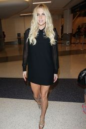 Kesha in Mini Dress at LAX Airport in Los Angeles, October 2014