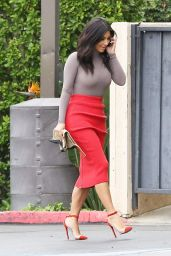 Kim Kardashian in Red Skirt - Arriving at the Family Office in Calabasas - October 2014