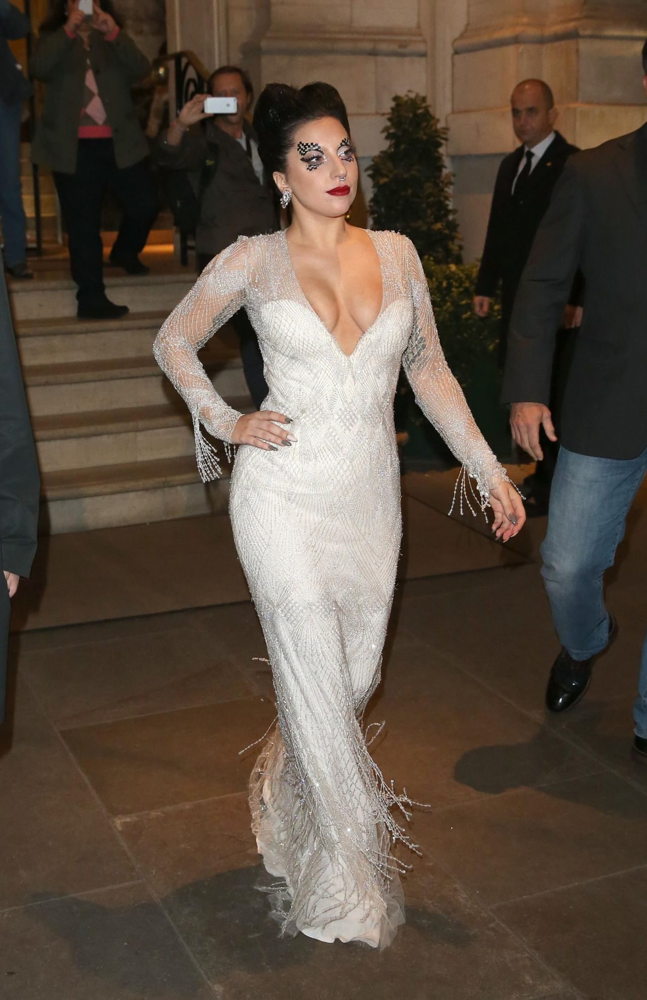 Lady Gaga in White Dress - Leaving Her Hotel in London - Octtober 2014