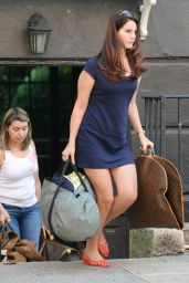 Lana Del Rey in a Blue Mini Dress in New York City - October 2014