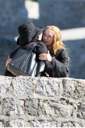 Lena Headey on the set of