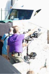 Lena Headey on the set of