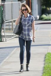 Lily Collins in Tight Jeans Arriving at Andy LeCompte Salon in Los Angeles