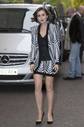 Lily Collins Leggy - Out in London - October 2014