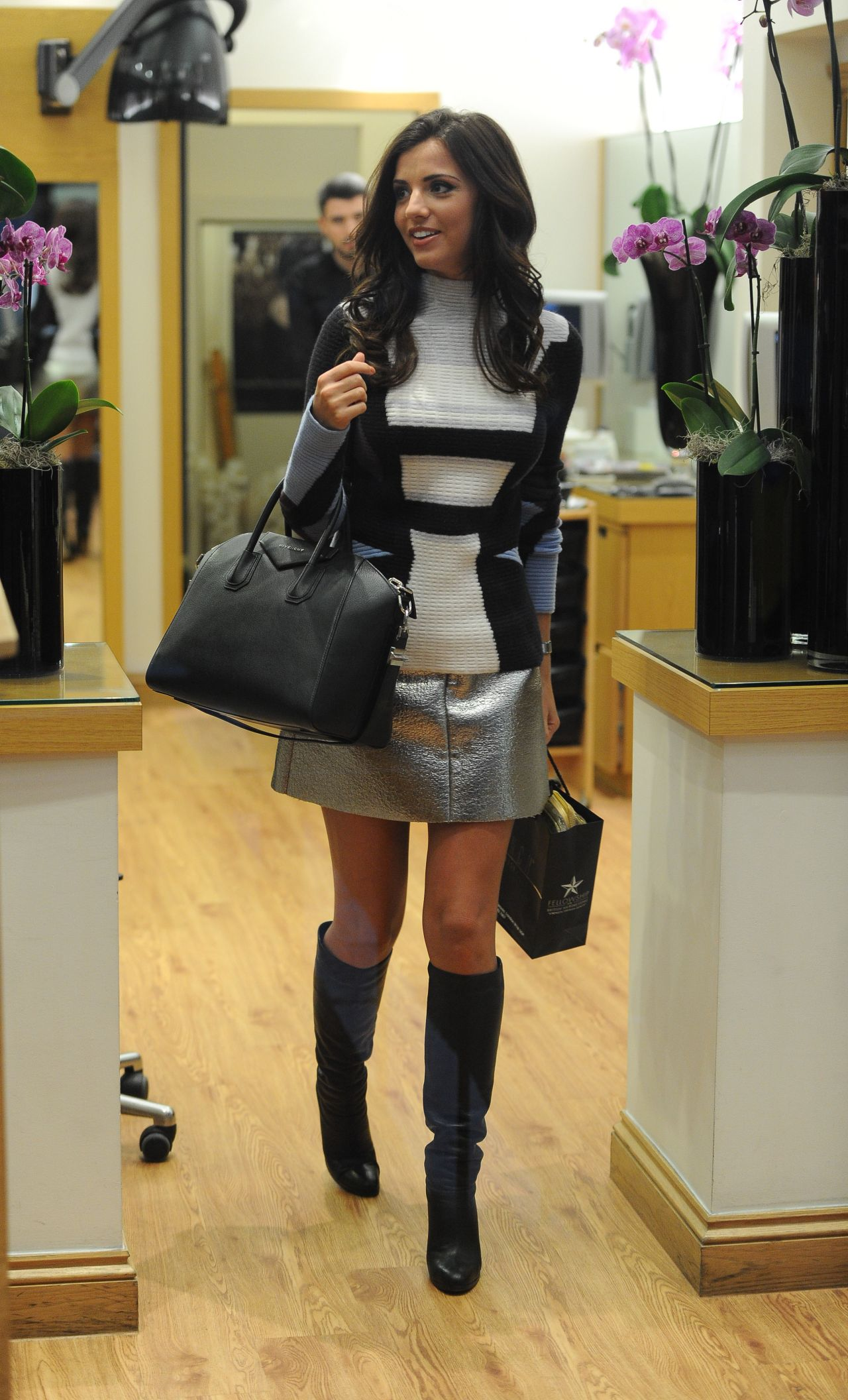 Lucy Mecklenburgh in Mini Skirt and Boots - Out in London ...