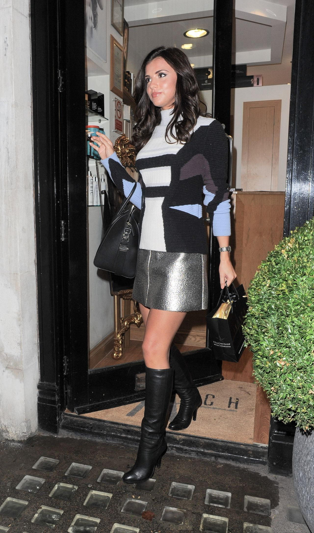 Lucy Mecklenburgh In Mini Skirt And Boots Out In London