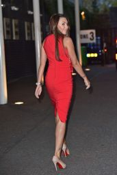 Michelle Heaton in Red Dress - Outside the London Studios - October 2014