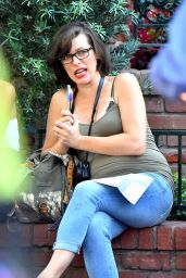 Milla Jovovich at Disneyland in Anaheim - October 2014