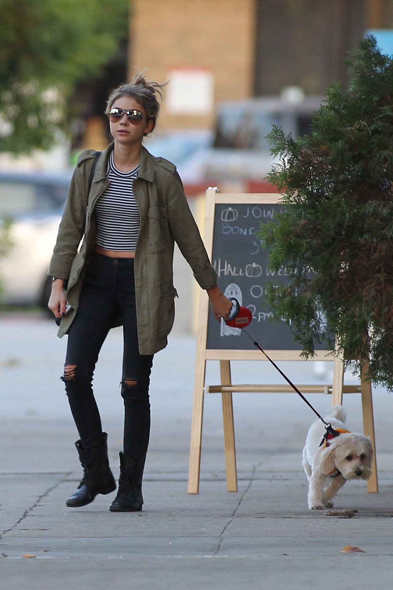 Sarah Hyland - Walking Her Dog in Los Angeles - October 2014