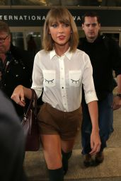 Taylor Swift Style - Arriving at LAX Airport, October 2014