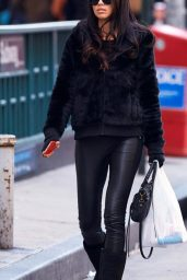 Adriana Lima Street Fashion - Leaves a Duane Reade Pharmacy in New York City