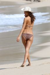 Alessandra Ambrosio in a Bikini - Relaxing on the Beach in St Barts - November 2014