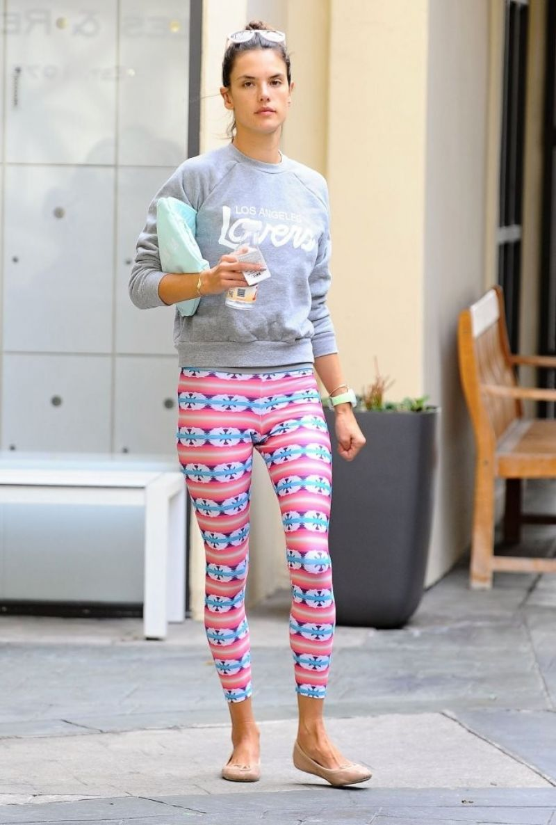 Alessandra Ambrosio in Leggings - Leaving Yoga Class in Brentwood, November 2014