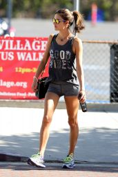 Alessandra Ambrosio Leggy in Shorts - Heads to the Gym in LA, November 2014