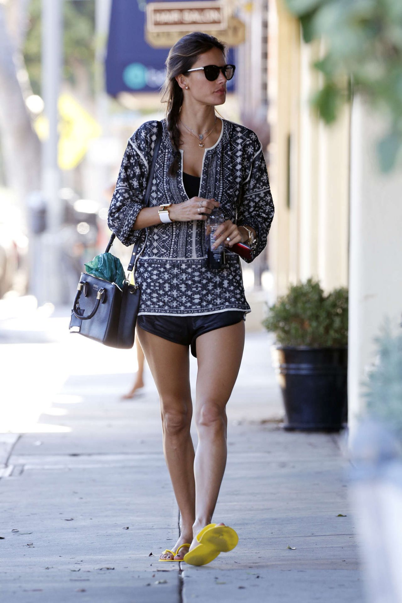 Alessandra Ambrosio Leggy in Shorts - Out in Santa Monica - November 2014