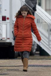 Anna Kendrick in a Bright Orange Coat - Out in New Orleans, November 2014