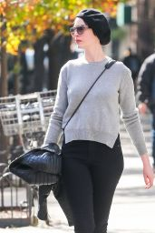 Anne Hathaway Street Fashion - Out in New York City - November 2014