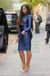 Ashanti in  Clingy Wet Look Dress - after co-hosting