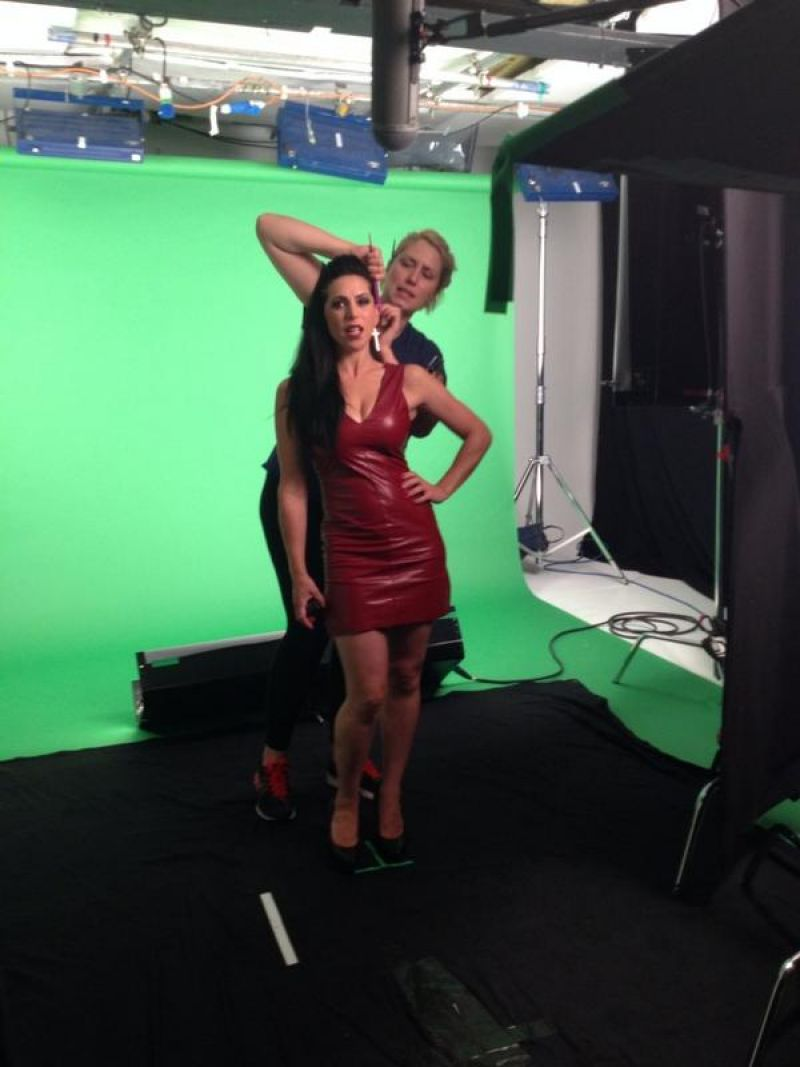 Emily Booth Cleavage in Red Leather Dress - Nov. 2014