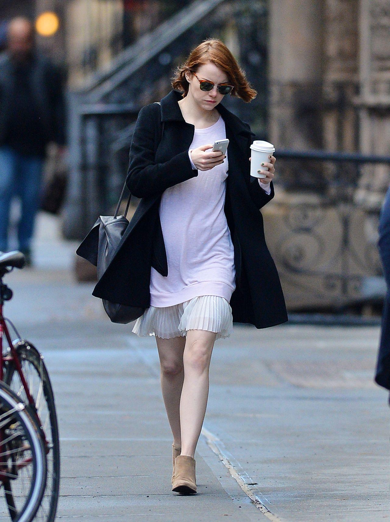 Emma Stone Leggy - Out in New York City - November 2014