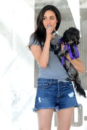 Emmy Rossum in Denim Shorts - Adopting a Dog at the NKLA Adoption Event in Los Angeles