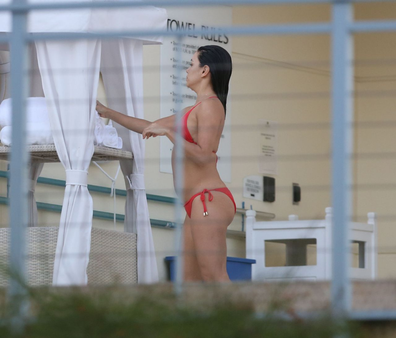 Eva Longoria in a Red Bikini at a Pool in Miami - November 2014