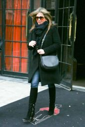Jennifer Aniston in Coat  - Leaving Her Hotel in New York City - November 2014