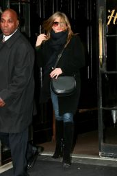 Jennifer Aniston in Coat  - Leaving Her Hotel in New York City - November 2014