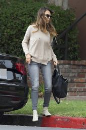Jessica Alba Casual Outfit - Out in Santa Monica - October 2014