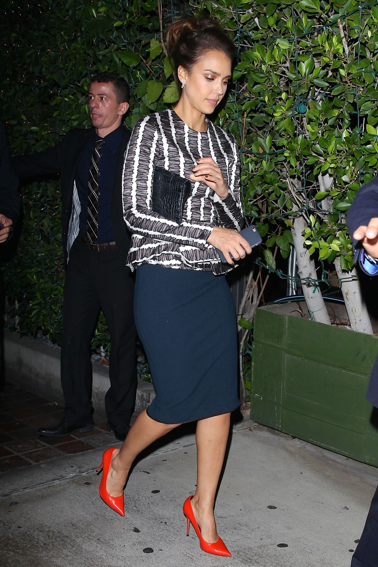 Jessica Alba Night Out Style - Leaving Ago Restaurant in West Hollywood - November 2014