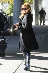 Jessica Chastain Fall Style at JFK in New York City - November 2014