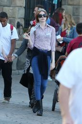 Karen Gillan - Spending the Day in Disneyland, Anaheim - November 2014