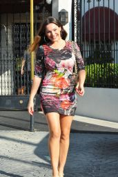Kelly Brook in Mini Dress - Leaving Sketchers Offices in Los Angeles, Nov. 2014