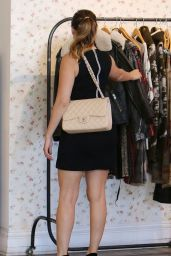 Kelly Brook in Mini Dress - Out For Lunch in Little House - Los Angeles, November 2014