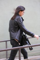 Kendall Jenner in Leather Pants - at Kate Mantillini Restaurant in Los Angeles, November 2014