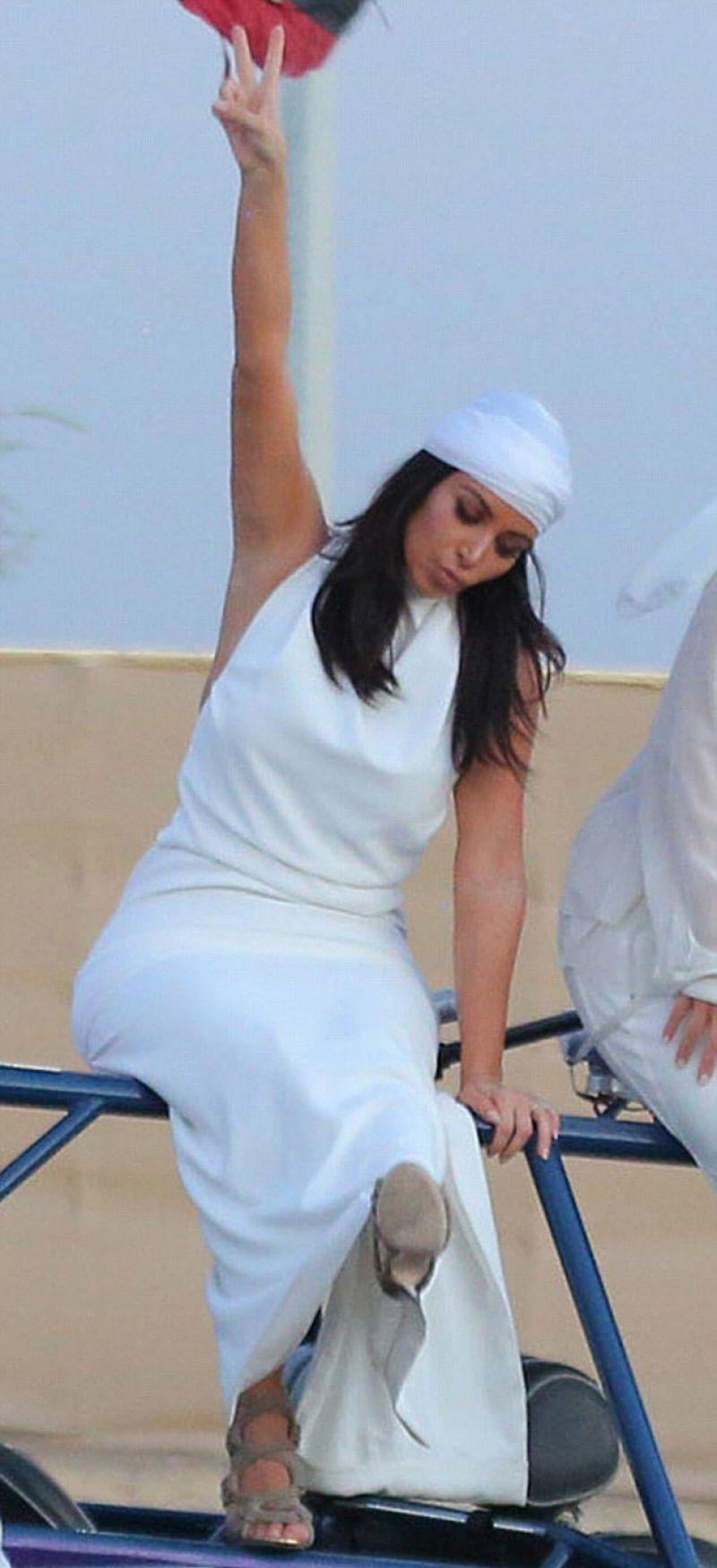 Kim Kardashian - Riding Around the Dubai Desert on Dune Buggies - November 2014