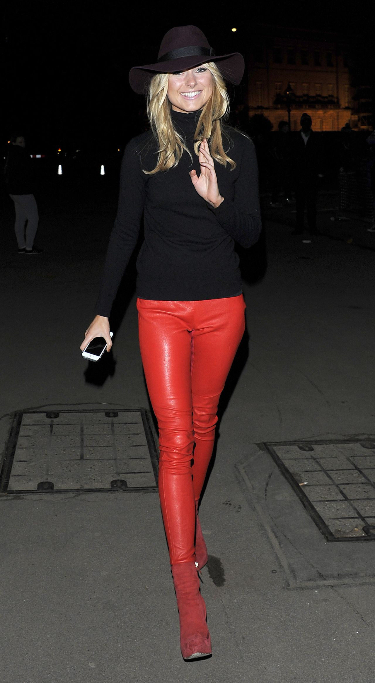 Kimberley Garner In Red Leather Pants At Winter