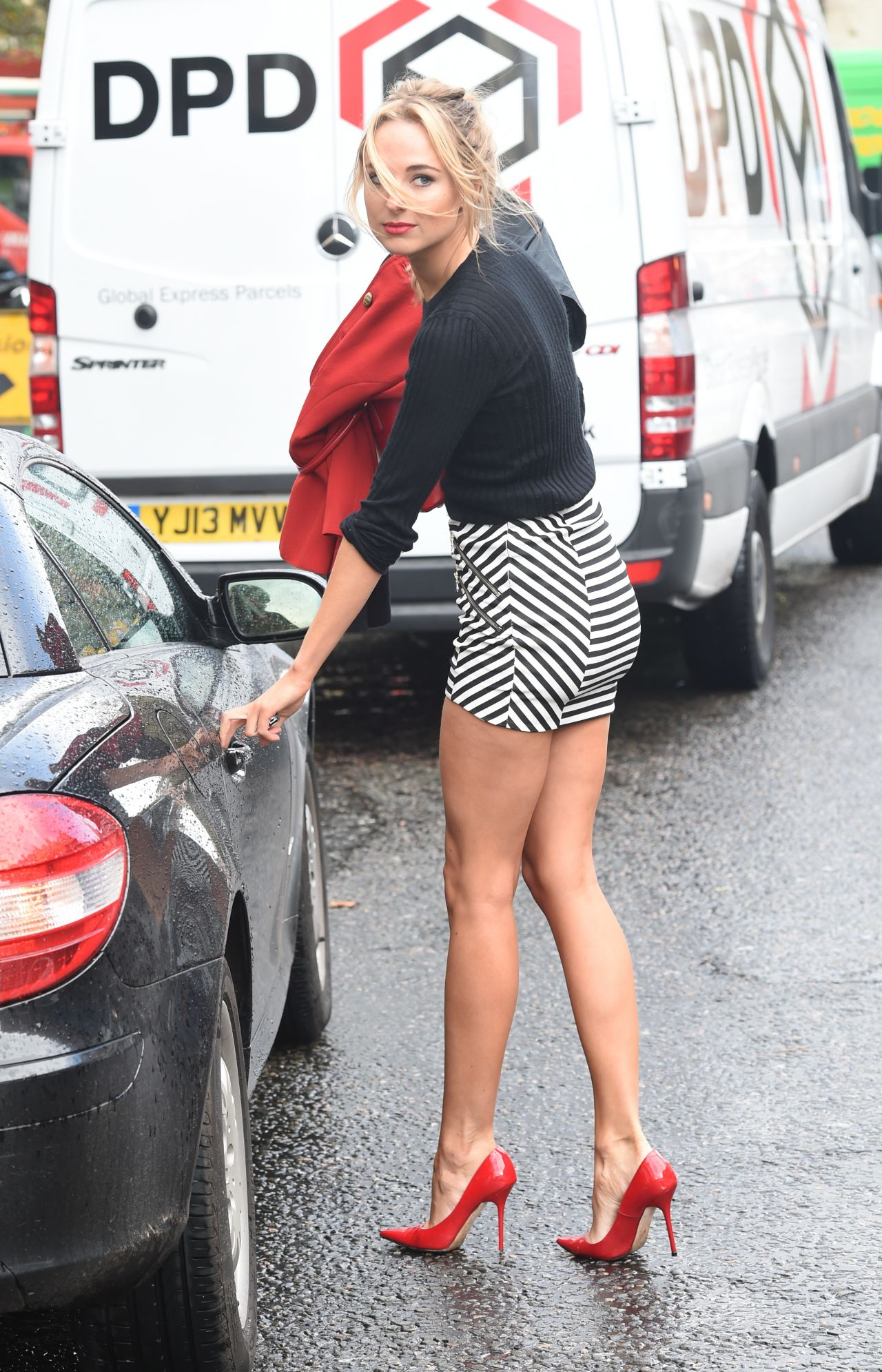 Kimberley Garner Leggy in Mini Skirt - Out in London