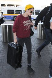 Kristen Stewart Casual Style - at LAX Airport, November 2014