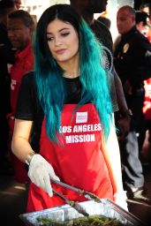 Kylie Jenner at the Los Angeles Mission