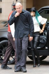 Kylie Jenner in Leather Pants at Kourtney